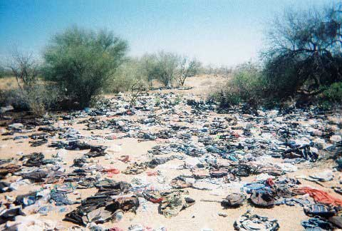 garbage left by illegal Mexicans sneaking into country